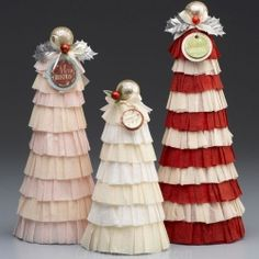 Sweet and ruffled, Christmas topiary trees are simple to make with crepe paper, straight pins and Styrofoam cones.