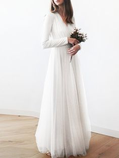 Shop Maxi Dresses - White Long Sleeve Hand Made Skater Maxi Dress online. Discover unique designers fashion at StyleWe.com.