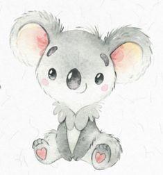 Koala Koala Illustration, Watercolor Illustration, Watercolor Art, Animal Drawings, Cool Drawings, Baby Koala, Funny Bunnies, Animal Wallpaper, Watercolor Animals