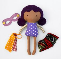 This african american black superhero girl doll is an ideal gift for afro kids, mixed kids. This brown superhero doll soft toy with cape and mask is a great toddler gift for girls or for a super hero birthday. Personalize your superhero doll with a name tag. - Choose your favourite La Loba superhero doll - add this listing with the name tag to your cart as well http://etsy.me/1VzyFzs At checkout, please leave me any requests in the comments section of your wished name or short message. Na...