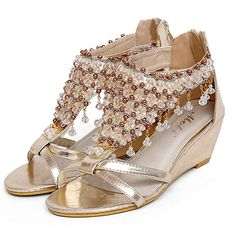 Zarbrina Women's Wedge Platform Sandals Bohemian Rhinestone Beads Gladiator Roman Girls Summer Shoes ** Many thanks for having viewed our photograph. (This is an affiliate link) Silver Bridal Shoes, Rhinestone Shoes, Comfortable Dress Shoes, Wedge Sandals, Heeled Sandals, Gladiator Sandals, Womens High Heels, Summer Shoes, Peep Toe