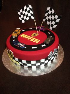 Hmm The Flags Could Be Made Out Of Toothpicks And Checkered Paper Ferrari Cakeferrari Partycar Birthday