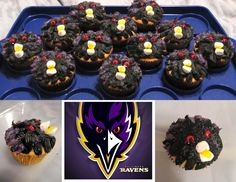 so proud of my first original cupcake idea! made them for my bf's birthday. RAVENS! <3
