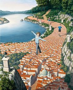 Artist-Rob Gonsalves This artist turns the pattern of the brick walkway into a sky view of a village.