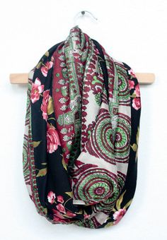 Green and Maroon Vintage Sari and Black and Red Floral Infinity Scarf by JustDawnelle