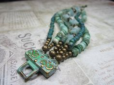 Six Stranded Turquoise Shell and Stone Boho by BeadDazzlers