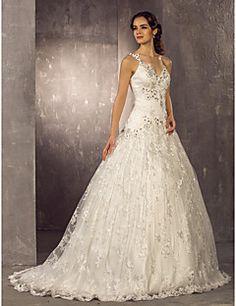 [CyberWeekSale]Wedding Dress A Line Sweep Brush Train Lace