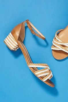 Vicenza Raffia Block-Heeled Sandals