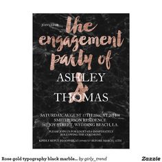 Rose gold typography black marble engagement party card