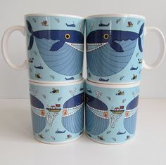 Vintage Taylor & Ng Classy Critter Whopper Whale Mug - Set of 4 Coffe Mugs via Etsy
