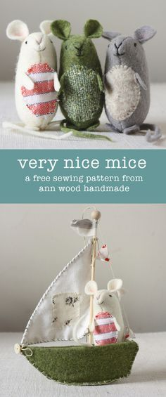 very nice mice : pattern and instructions (and it's free!) - Sewing projects (bags)- very nice mice : pattern and instructions (and it's free!) ann wood : very nice mice pattern Softies, Sewing Toys, Sewing Crafts, Diy Crafts, Garden Crafts, Fall Crafts, Bead Crafts, Halloween Crafts, Sewing Patterns Free