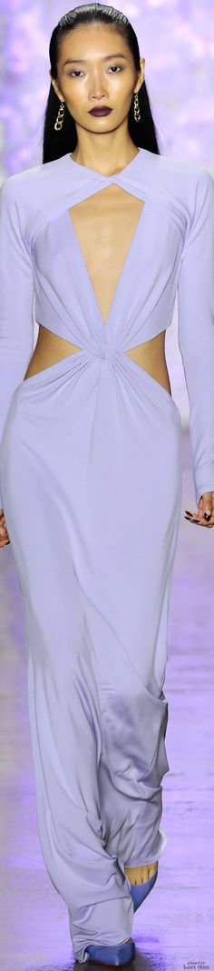 Cushnie et Ochs ~ Spring Long Sleeve Lavender Cut-out Gown, 2016 RTW
