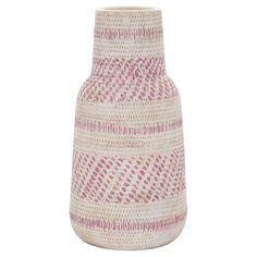 "Pop a proud sunflower into the Earthenware Vase in Pink (12"") from Threshold. This cream and pink vase has a narrow, tapered top and sturdy base with a simple repeating pattern."