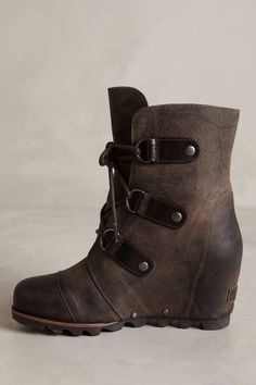 SOREL ANTHROPOLOGIE WOMENS 7.5, 9 JOAN OF ARCTIC WEDGE LACE UP BOOTS NEW GRILL #SOREL #MidBoots