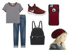 """""""red red red"""" by marcelina767 ❤ liked on Polyvore featuring 7 For All Mankind, Monki, NIKE, Henri Bendel, OtterBox and Sole Society"""