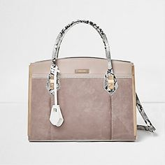 c7cbac47ed5c9 stone and snake print structured tote bag by River Island. Triple gusset  design Structured boxy shape Snake print detail on straps Grab handles and  shoulder ...