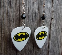 Batman Emblem Guitar Pick Earrings with Black Crystals by ItsYourPick on Etsy