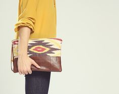The Belinda Clutch ///// Ikat Clutch. Brown Leather Clutch. Wrist ...