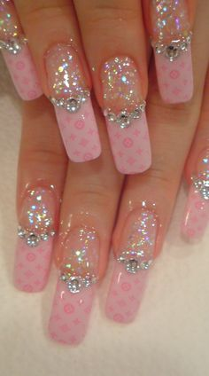 Nails ~ My friend went as Glinda the Good Witch for Halloween…wouldn't these have been cute?  Maybe not practical, but very cute!