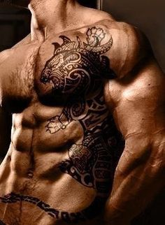 Chest/side piece, tribal leopard or tiger. See More : http://luxurystyle.biz/tattoo/