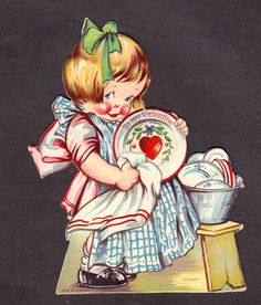 CHARLES TWELVETREES Valentine Card Child Doing Dishes 1920's Excellent w/Stand