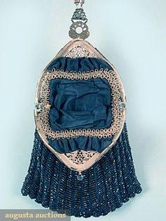BLUE BEADED BAG, 1915-1920s