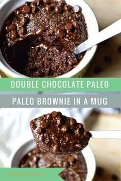 Recipe for paleo chocolate brownie in a mug. For after those tough workouts. Swap out the coconut sugar for Keto friendly sweetener Gluten Free Treats, Healthy Treats, Healthy Desserts, Healthy Foods, Yummy Treats, Sweet Treats, Paleo Sweets, Paleo Dessert, Dessert Recipes