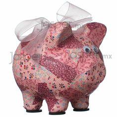 Alcancía cerdito de cerámica - Chic rosa