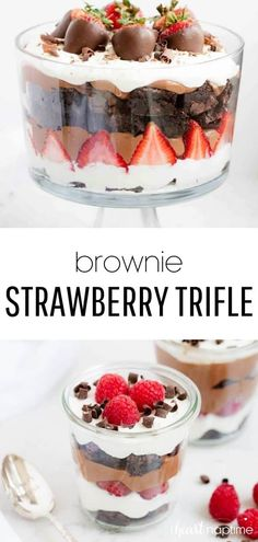 Brownie strawberry trifle made with layers of strawberries, chocolate pudding, cream and brownies. This trifle dessert has the perfect combination of flavors and tastes absolutely delicious! and desserts sweet treats Strawberry Trifle, Strawberry Desserts, Chocolate Strawberries, Strawberry Pudding, Strawberry Brownies, Christmas Desserts, Easy Desserts, Delicious Desserts, Yummy Food