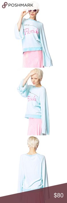 """Wildfox Florida Tourist Star Crossed Sweater NWOT Wildfox Couture Florida Tourist Star Crossed Sweater shows off how much ya love to hoof it all over the place. This super soft sweater says, """"I left my ____ in Florida."""" This top has long bell shaped sleeves, so they're super cozy and perfect for hiding your hands in. Contrast collar and hem. Clean back. Throw it on with boyfriend jeans and grab some oversized sunnies.  •Materials: 75% Cotton, 25% Polyester Wildfox Sweaters"""