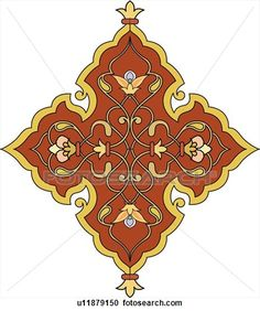 Fancy red, gold and pink Arabesque Design View Large Clip Art Graphic