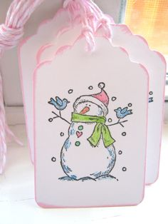 Snowman Gift Tags, Christmas Gift Tags, Pink and Green. $3.95, via Etsy.