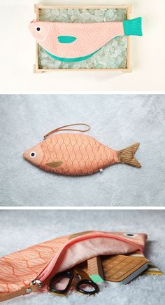 Best 12 Adorable fish-shaped clutch by Don Fisher Purse Patterns, Sewing Patterns, Fish Pencil Case, Don Fisher, Couture, Fish In A Bag, Fish Crafts, Fabric Bags, Fairy Dolls