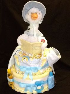 Talking Mother Goose Diaper Cake, full of baby products by DoodleBugsQuilts.  UNIQUE GIFT!