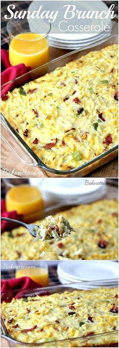 Sunday Brunch Casserole recipe: is a hearty egg, hashbrown, bacon and cheese dish to feed a crowd. Perfect for breakfast or dinner. Make it the day of or ahead. PIN IT NOW and make it later! Breakfast Dishes, Breakfast Time, Breakfast Recipes, Breakfast Ideas, Egg Dishes For Brunch, Breakfast Potluck, Make Ahead Brunch Recipes, Prayer Breakfast, Brunch Buffet