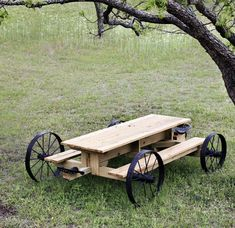Picnic Table Plans How to Build a Picnic Table Outdoor Furniture Plans Wagon Wheel Table Rustic Outdoor Furniture Wagon Wheels Rustic Table Build A Picnic Table, Outdoor Picnic Tables, Outdoor Cafe, Rustic Country Furniture, Farmhouse Living Room Furniture, Outdoor Furniture Plans, Log Furniture, Antique Furniture, Modern Furniture
