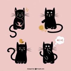Lindo gato negro ilustración libre