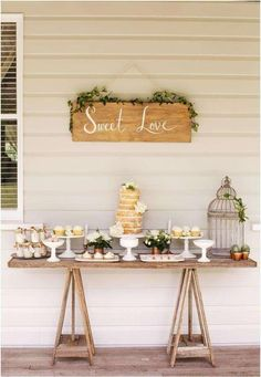 Rustic dessert table at a wedding party! See more party planning ideas at Catch. Rustic Food Display, Display Ideas, Wedding Desserts, Wedding Decorations, Wedding Centerpieces, Sweet Table Decorations, Birthday Decorations, Wedding Table, Rustic Wedding