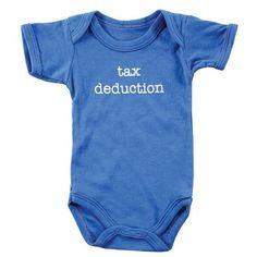 Baby Sayings Bodysuit - Tax Deduction, 6-9 months Luvable Friends,http://www.amazon.com/dp/B00BXLU30W/ref=cm_sw_r_pi_dp_KdOurb1YXJA1A0SY