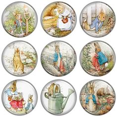 Peter Rabbit pinback buttons or magnets (by button bistro)