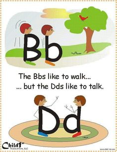 """Dyslexie en Engels Good way to teach how to differentiate between """"b"""" and """"d"""" Very Clever! Kindergarten Literacy, Early Literacy, Literacy Activities, Dyslexia Activities, Kindergarten Anchor Charts, Alphabet Activities, Teaching Reading, Fun Learning, Visual Learning"""