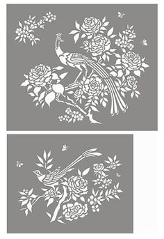 Chinoiserie Stencil Exotic Birds and Blooms Stencil