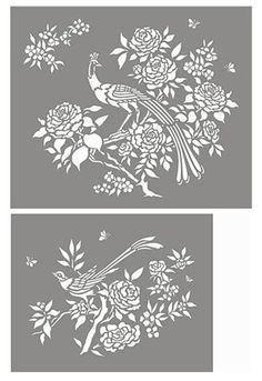 Peacock, Bird and Blossom Stencil - Henny Donovan Motif Stencil Patterns, Stencil Painting, Print Patterns, Stenciling, Peacock Decor, Peacock Bird, Chinoiserie Motifs, Willow Pattern, Silhouette Art