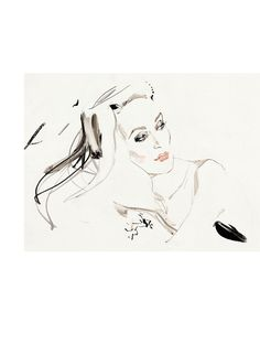 Jerry Hall by David Downton #fashionillustration #artluxedesigns #imfamous