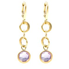 Refurbished Pre-Owned Lalla & Rossana 18k Yellow Gold Purple Earrings
