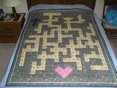 Family Name Quilt for Mom from Scrabble Tile Panel - had to purchase 4 panels because of all the L's and J's