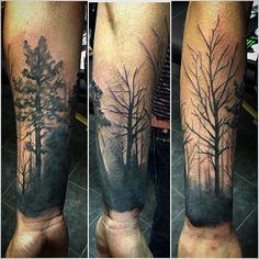 https://www.instagram.com/jayhellart/ Cover up #tree #forest #tattoo #tatouage #gatineau #acestatouage #blackandgrey