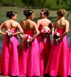 black and hot pink wedding bridesmaid dresses