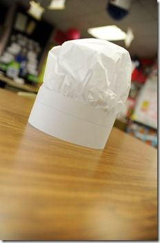 How to make homemade Chef's hats with a piece of tissue paper and a sentence strip!