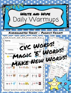 **Write and Wipe** Daily Warmups - Kindergarten Phonics Kindergarten Morning Routines, Kindergarten Phonics, Phonics Lessons, E Words, Sight Words, How To Make Box, Morning Work, Word Work, Teacher Resources
